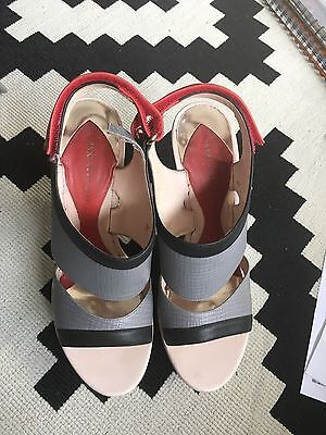 Hugo Boss Ladies Sandals Grey/black/red Size 38/5 Uk