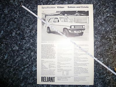 Reliant Kitten Specification Info