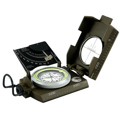 Military Compass Sighting Compass Metal Survival Gear Hiking Satellite Armygreen
