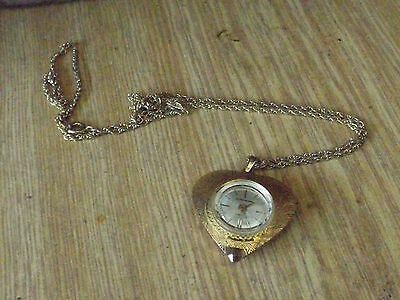 Vintage Swiss Made 17 Jewel heart shape gold tone Pendant/Necklace Watch