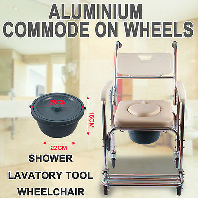 Mobile Shower Commode Chair for Waterproof Rustproof Shower Tool Wheelchair Pad
