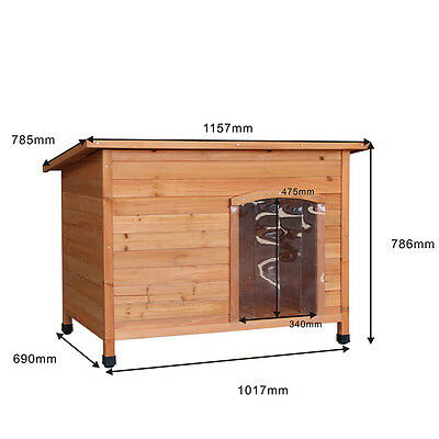 Extra Large Dog Solid Wooden Kennel Pet House Garden Patio Weatherproof Outdoor