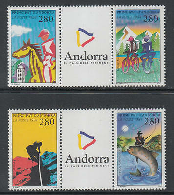 XG-R107 ANDORRA-FRENCH - Sports, 1994 4 Values With Tabs MNH Set