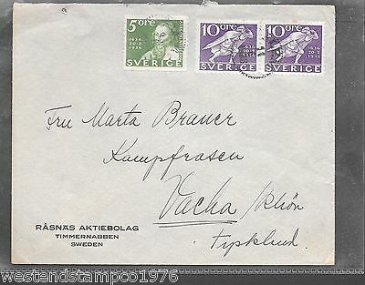 SWEDEN 1933 COVER GREEN 5 ORE + 2 x VIOLET 10 ORE