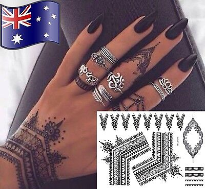 Henna Hand Temporary Tattoo Body Art 1 full sheet of tattoos - AUSSIE SELLER :-)