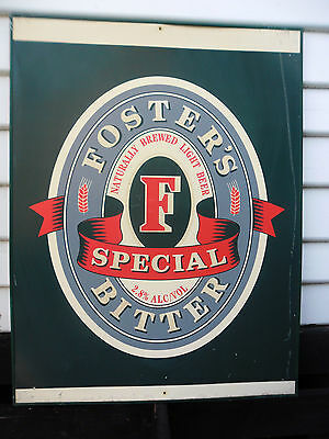 Fosters Special Bitter Beer Sign. Collectable. Mens Shed. Metal Frame