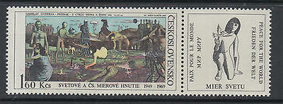 XG-R197 PAINTINGS - Czechoslovakia, 1969 Intl. Peace Movement, W/ Label MNH Set
