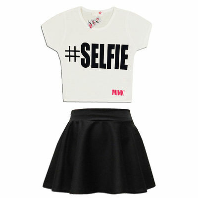 Girls '#selfie Crop Top & Skater Skirt Set Kids Children Outfit Age 7-13 Years