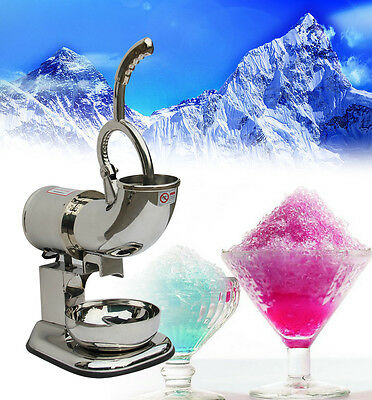 220W Stainless Ice Shaver Machine Snow Cone Maker Shaved Icee Electric Crusher