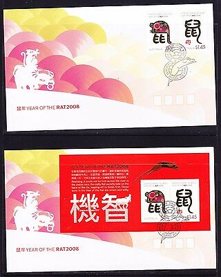 Christmas Island 2008 Year of the Rat (2) First Day Cover Pictorial Cancel