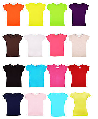 Girls Plain Gym & Dance Top Kids Short Sleeve Tee T Shirt New Age 2-13 Years