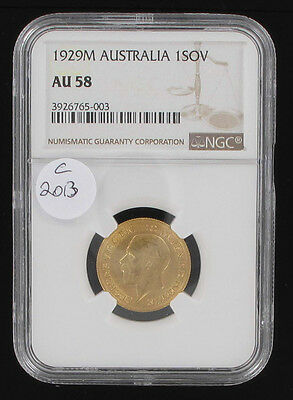 Australia Rare Small Head 1929 M Melbourne Mint George V Gold Sovereign Ngc Au58