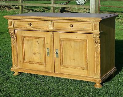 A Beautiful Large East German Stripped Pine Dresser Base / Sideboard