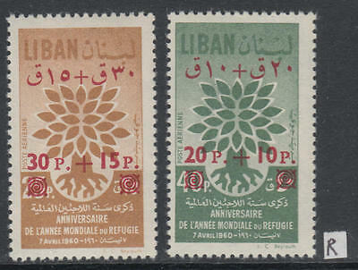 XG-D443 LEBANON IND - Refugee Year, 1960 Overprints, New Values MNH Set