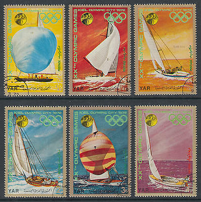 XG-D507 YEMEN - Ships, 1972 Sailing, Olympic Games Germany Kiel Used CTO Set