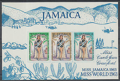 XG-D725 JAMAICA IND - Sheet, 1963 Miss World, Joan Crawford, Imperf. MNH