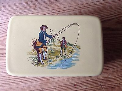 Vintage Denby Butter Dish With Fishing Scene