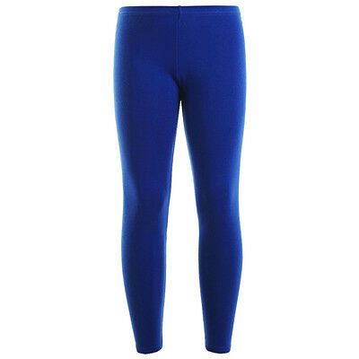 6629528ecf406 Girls Kids Leggings Plain Full Length Dance Wear Stretch Royal Blue 7-13  Years