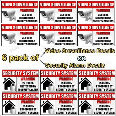 6 Window Door Security Alarm Video Surveillance Warning Alert Sticker Decal Sign