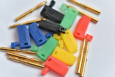 2mm Gold Plated Stackable Banana Plug Jack  Red Black Green Yellow Blue X1pair