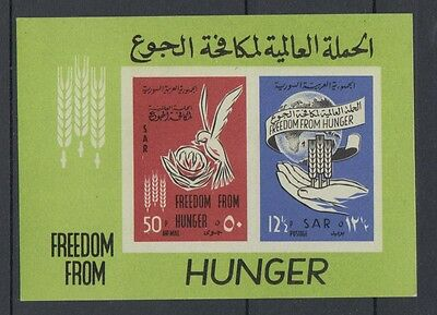 XG-S049 SYRIA IND - Freedom From Hunger, 1963 Imperf. MNH Sheet