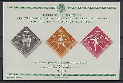 XG-S090 VENEZUELA - Sports, 1962 National Games, Imperf. MNH Sheet