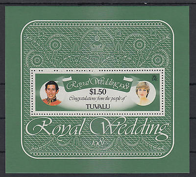 XG-S101 TUVALU - Royalty, 1981 Lady Diana, Prince Charles Wedding MNH Sheet
