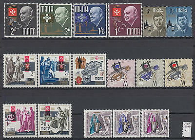 XG-S113 MALTA IND - Year Set, 1966 17 Values Complete As Per Scan MNH