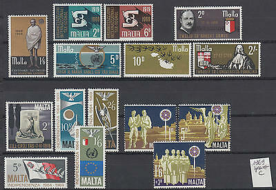 XG-S114 MALTA IND - Year Set, 1969 15 Values Complete As Per Scan MNH