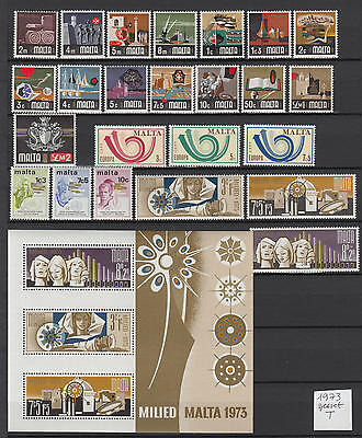 XG-S118 MALTA IND - Year Set, 1973 24 Values, 1 Sheet Complete As Per Scan MNH