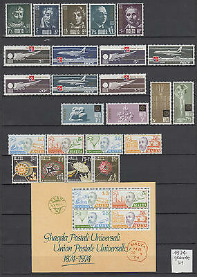 XG-S119 MALTA IND - Year Set, 1974 24 Values, 1 Sheet Complete As Per Scan MNH