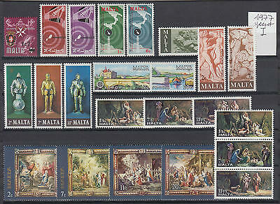 XG-S121 MALTA IND - Year Set, 1977 23 Values Complete As Per Scan MNH