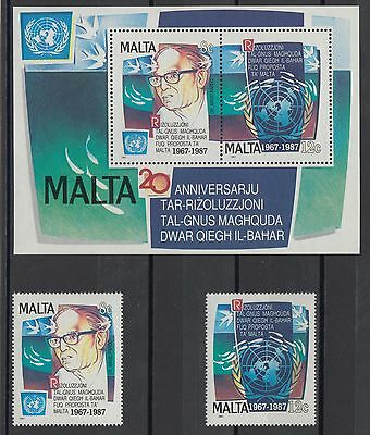 XG-S126 MALTA IND - United Nations, 1987 20Th Anniversary, Set And MNH Sheet
