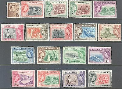 DOMINICA 1954/62 QEII Pictorial Set to 60c (18) Mint