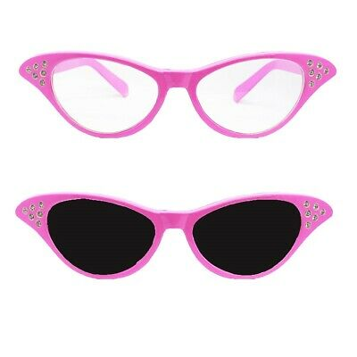 LADIES PINK GLASSES WITH DARK OR CLEAR LENSE 1950S 50s FANCY DRESS ACCESSORY