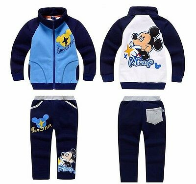 NEW! 2017 boys MICKEY 2 pcs WARM tracksuit outfit clothing set 3-4 years