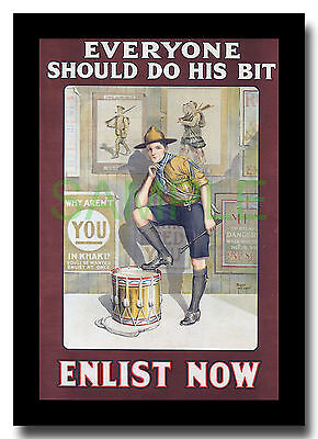Everyone Should Do His Bit - Enlist Now WW1 Scout framed poster repro Baron Low