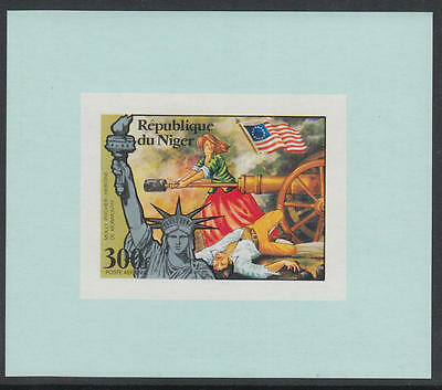 XG-E760 NIGER IND - American Bicent., 1976 Molly Pitcher 300F Imp MNH Sheet