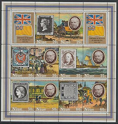 XG-F123 NIUE IND - Rowland Hill, 1979 Cent. Of Death, Ships MNH Sheet