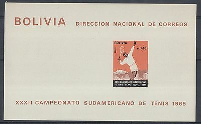 XG-F456 SPORTS - Bolivia, 1965 South American Tennis Champ., Sb. 1.40 MNH Sheet