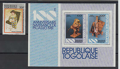 XG-S223 PAINTINGS - Gabon, 1981 Picasso, Centenary, Stamp And MNH Sheet
