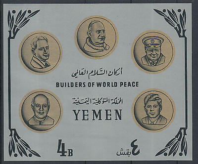 XG-F971 YEMEN - Paul VI, 1966 Kennedy, Builders Of World Peace, Silver MNH Sheet
