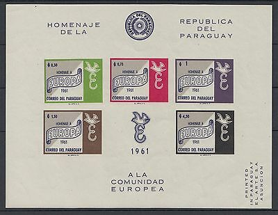 XG-S527 PARAGUAY - Europa Cept, 1961 Hommage, Imperf. MNH Sheet