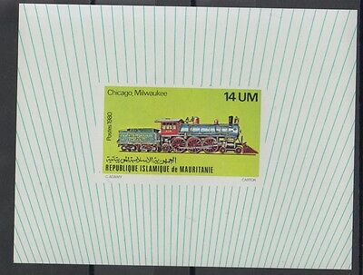 XG-S569 MAURITANIA IND - Trains, 1980 Locomotives, Deluxe Proof MNH Sheet