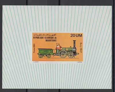 XG-S570 MAURITANIA IND - Trains, 1980 Locomotives, Deluxe Proof MNH Sheet