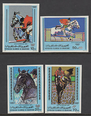 XG-S591 MAURITANIA IND - Olympic Games, 1980 Horses, Sports, Imperf. MNH Set