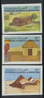 XG-S624 MAURITANIA IND - Architecture, 1982 Traditional Houses, Imperf. MNH Set