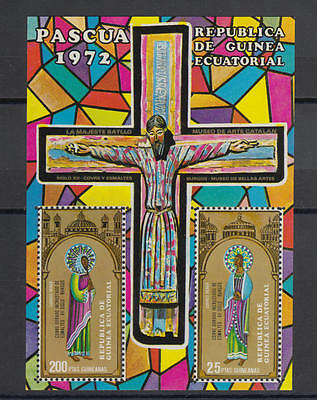 XG-S756 EQ. GUINEA - Paintings, 1972 Easter, Stained Glass MNH Sheet