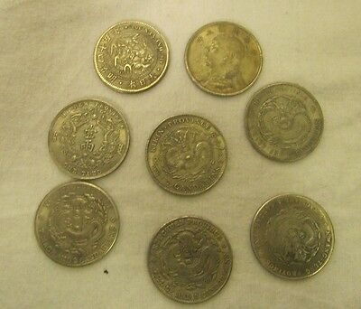 LOT of 8 ASIAN NOVELTY COINS --NOT SILVER-- Chinese Fat Man Dollar Dragons