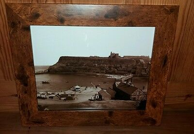 Frank Meadow Sutcliffe print of Whitby 10 x 8 in wood effect frame